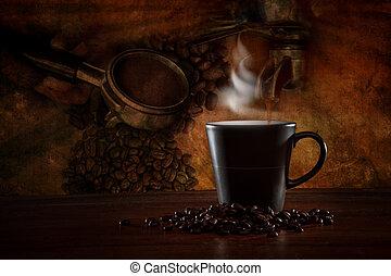 zrobienie, wyposażenie, scena, kawa
