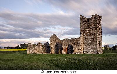 zrujnowany, średniowieczny, kościół