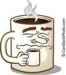 zrzędny, litera, kubeczek kawy