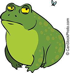 zrzędny, litera, tłuszcz, żaba, rysunek