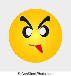 zrzędny, ludzie, żółty, emoji, gniewny, expression., wektor, twarz, płaski, emoticon, ilustracja, rysunek, wzruszenie, ikona