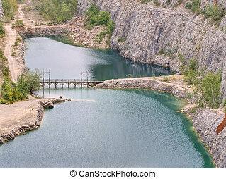 zsákmány, forrás, kanyon, akna, elhagyatott, dolomite, ov, nagy