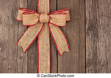 zsákvászon, karácsony, íj, és, szalag, lejtő, határ, képben látható, erdő