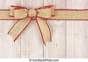 zsákvászon, karácsony, íj, és, szalag, tető, határ, képben látható, öreg, fehér, erdő