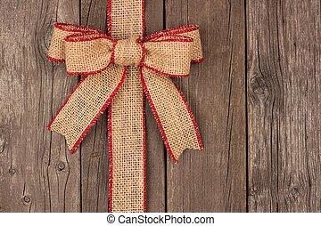 zsákvászon, karácsony, erdő, íj, határ, lejtő, szalag