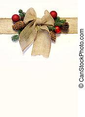 zsákvászon, nyugat, íj, elszigetelt, dísztárgyak, karácsony, pinecones