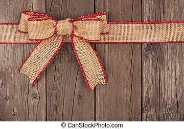 zsákvászon, tető, íj, erdő, határ, karácsony, szalag