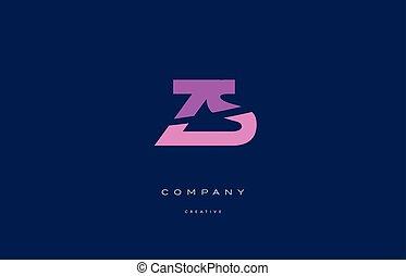 zs z s pink blue alphabet letter logo icon