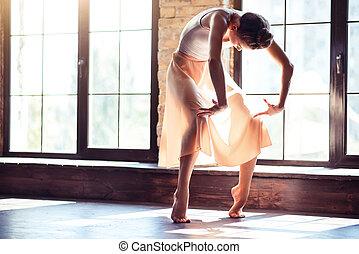 zsarnoki, táncos, gyakorló, női, choreography.