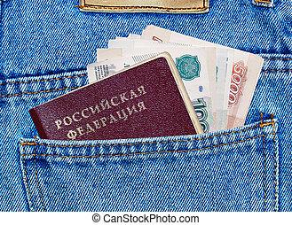 zsebpénz, farmernadrág, hát, útlevél