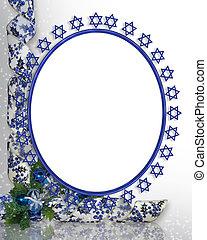 zsidó, fénykép keret, határ, csillag