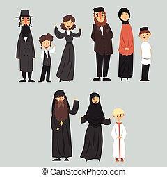 zsidó, különböző, család, ortodox, öltözék, emberek, muzulmán, hagyományos, vallás, vektor, ábra