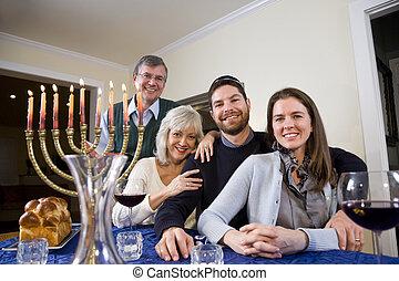 zsidó, misét celebráló, család, chanukah