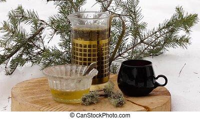 zsyp, komplet, filiżanka, drewniany, herbata, śnieg, przeźroczysty, gorący, honey:, czarnoskóry, stać, imbryk