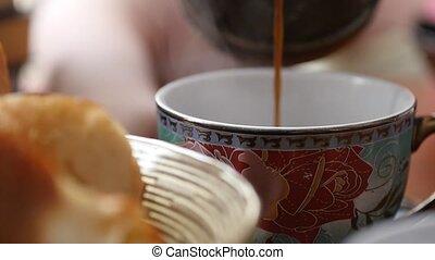 zsyp, szczelnie-do góry, powolny, cup., kawa, ruch