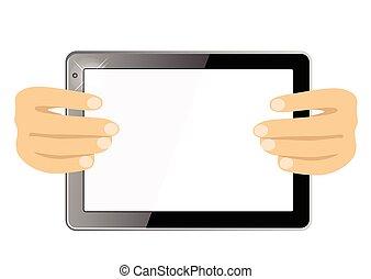 zubehörteil, tablette, ausstellung, freigestellt, edv, hände, berührungsbildschirm