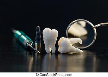 zubní, titan, vštípit