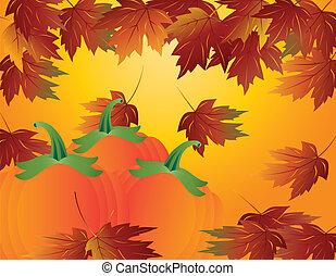 zucca, foglie, cadere, illustrazione, pezza