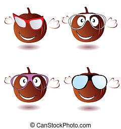 zucca, vettore, illustrazione, occhiali