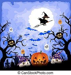 zucche, halloween, felice