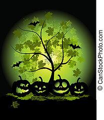 zucche, halloween, illustrazione
