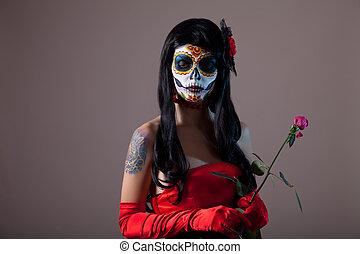 zucchero, cranio, ragazza, con, rosso sorto