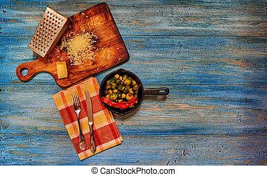zucchin, cocinero, horno, plato, picado, endurecer, loza de barro