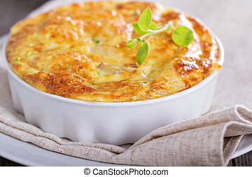 Zucchini and onion bake with eggs and cheese