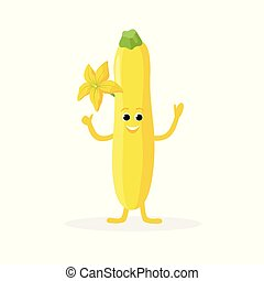 Zucchini cartoon character isolated on white background. Healthy food funny mascot vector illustration in flat design.