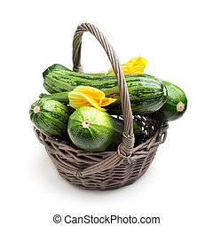 Zucchini - Fresh zucchinis in the basket, selective focus