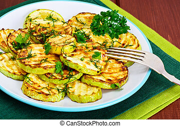 Zucchini Grilled with Fennel on Wooden Background