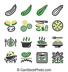zucchini icon set,vector and illustration