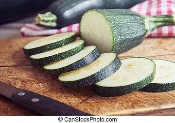 Zucchini on cuting board