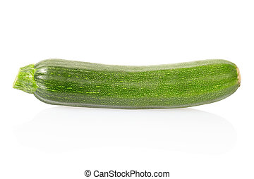 Zucchini or courgette - Single zucchini isolated on white, ...