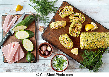 zucchini roulade on a board, top view