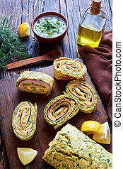 zucchini roulade with cheese and ham