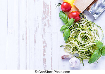 Zucchini spaghetti with parmesan and herbs