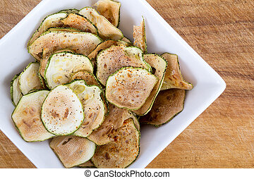 zucchini thin sliced chips oven baked
