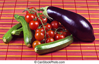 Zucchini tomatoes and eggplant close up