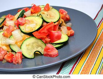 Zucchini Vegetable Plate - Dish of Zucchini Slices, tomatos,...