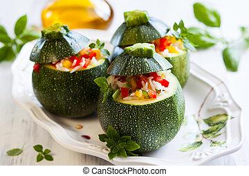 zucchini, volgestopt, met, groentes