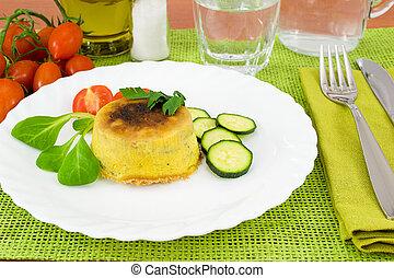 zucchini with ricotta cheese souffl? served warm