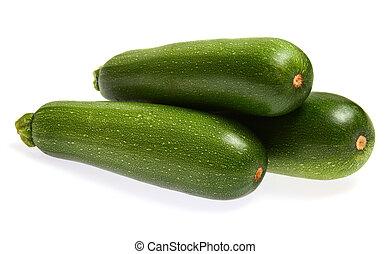 zucchinis, aislado, blanco, plano de fondo