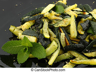 Zucchinis with mint  - Sauteed zucchinis with mint leaf