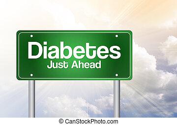 zuckerkrankheit, gerecht, voraus, grün, straße zeichen, geschäftskonzept, zuckerkrankheit