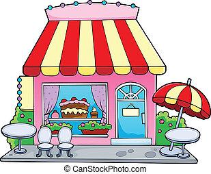 zuckerl, karikatur, kaufmannsladen