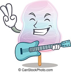 zuckerl, spielende , bild, gitarre, watte, regenbogen