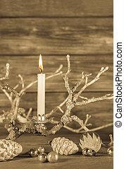 zuerst, advent:, eins, weißes, brennender, kerze, auf, hölzern, rustic, backgrou