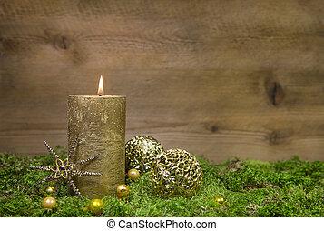 zuerst, advent:, goldenes, kerze, brennender, vorher, hölzern, hintergrund.