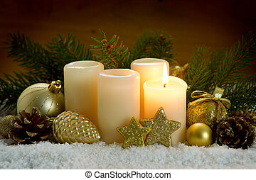 zuerst, adventskerze, und, weihnachten, decoration.